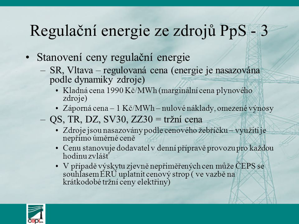 Regulační energie ze zdrojů PpS - 3