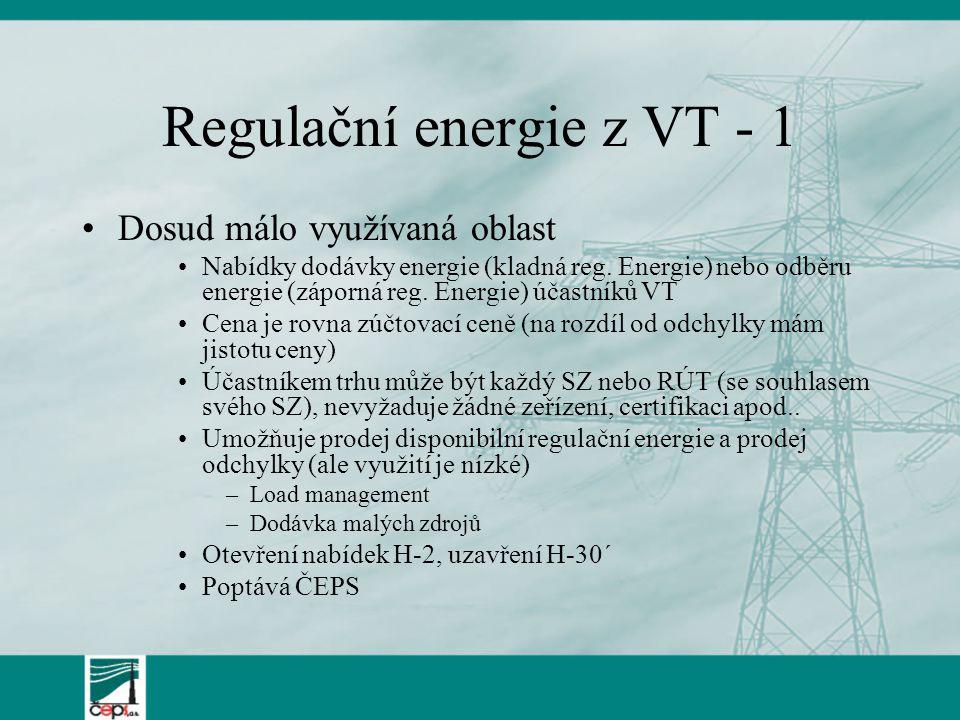 Regulační energie z VT - 1