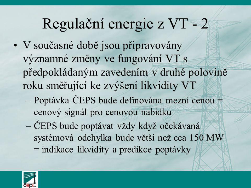Regulační energie z VT - 2
