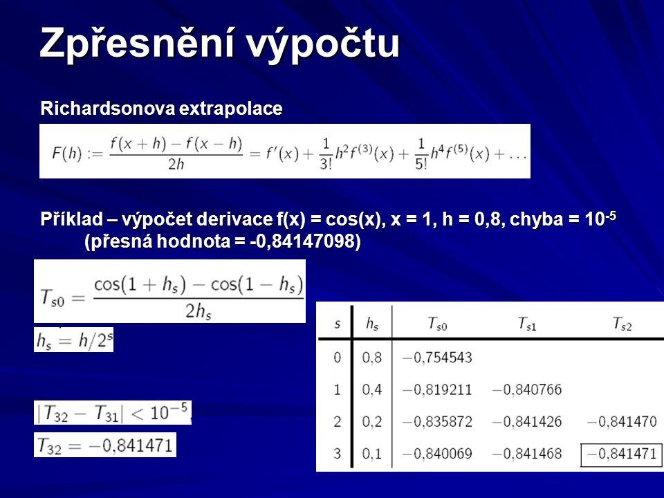 Zpřesnění výpočtu Richardsonova extrapolace