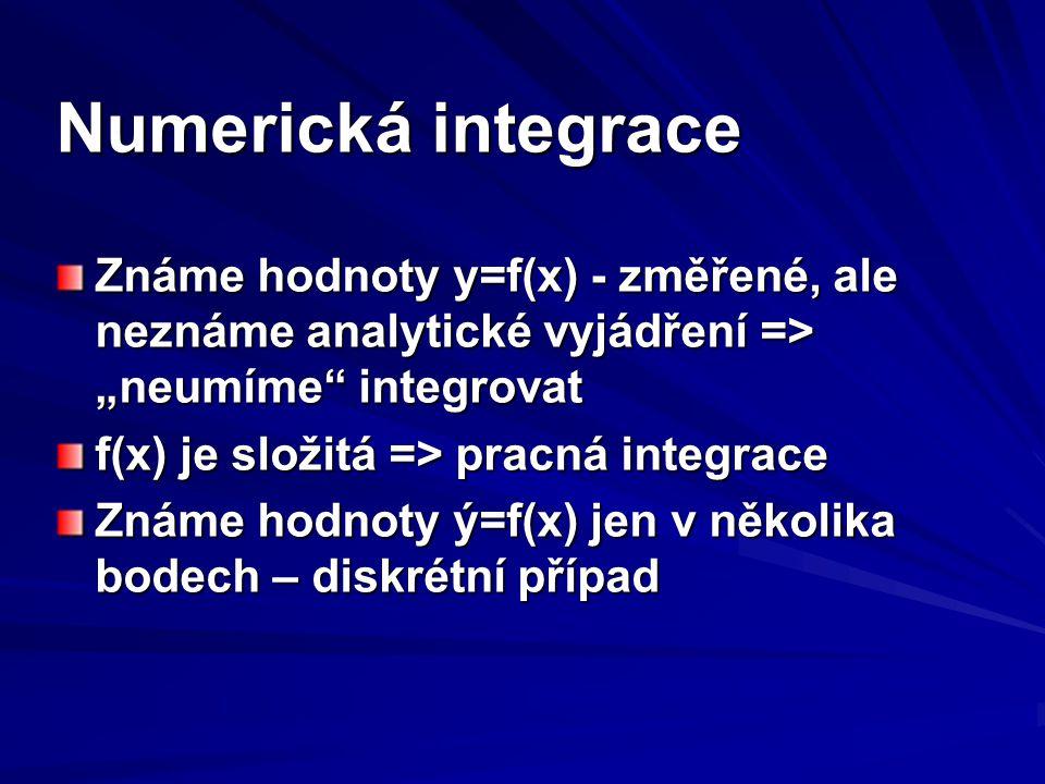 """Numerická integrace Známe hodnoty y=f(x) - změřené, ale neznáme analytické vyjádření => """"neumíme integrovat."""