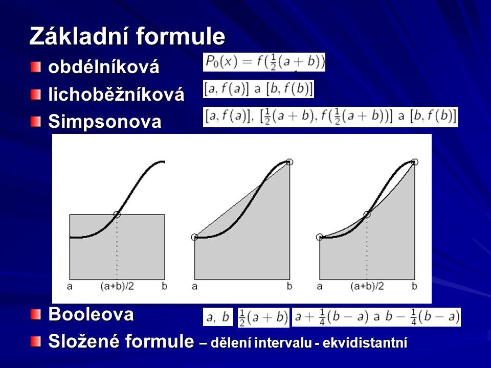 Základní formule obdélníková lichoběžníková Simpsonova Booleova