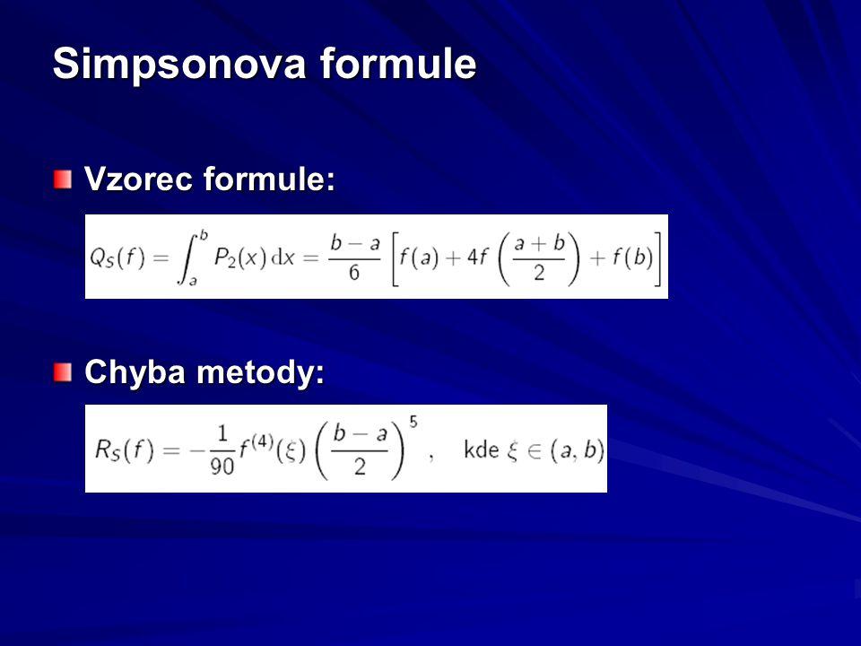 Simpsonova formule Vzorec formule: Chyba metody: