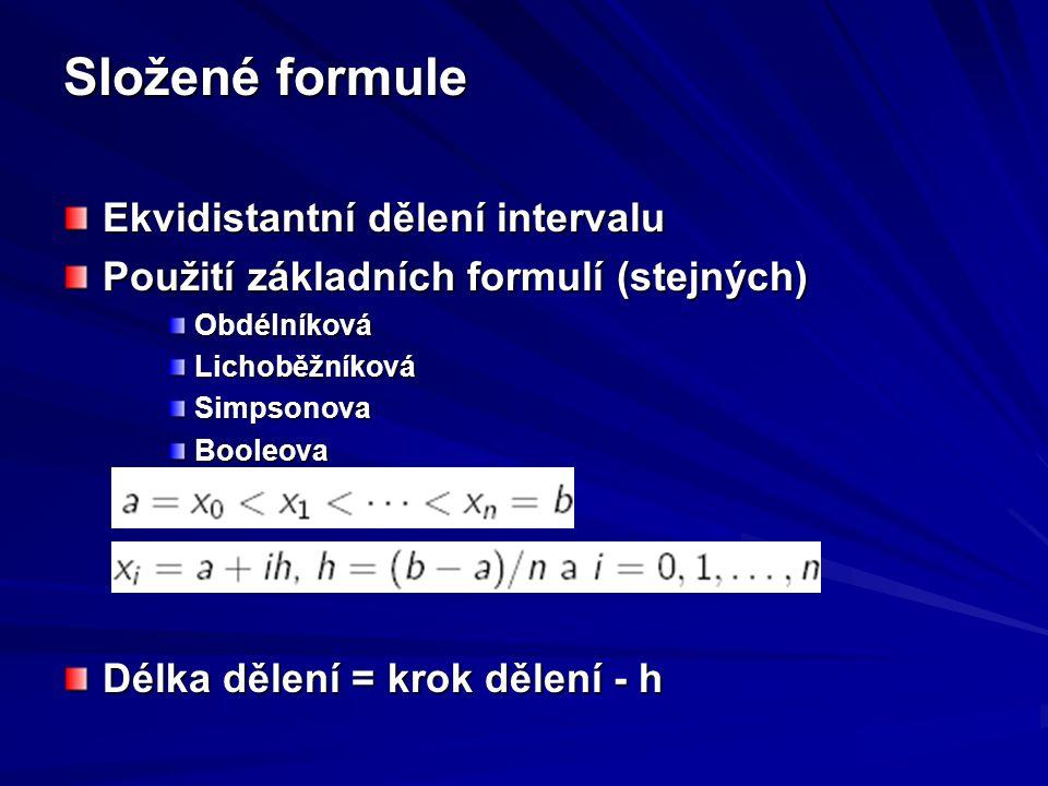 Složené formule Ekvidistantní dělení intervalu