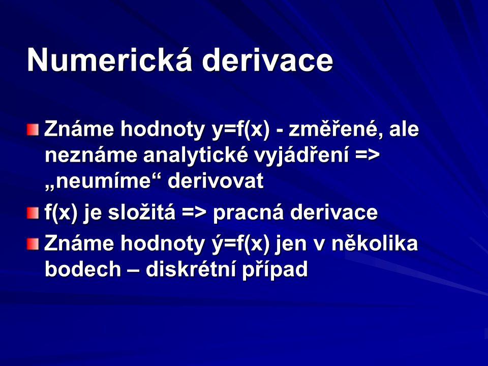 """Numerická derivace Známe hodnoty y=f(x) - změřené, ale neznáme analytické vyjádření => """"neumíme derivovat."""