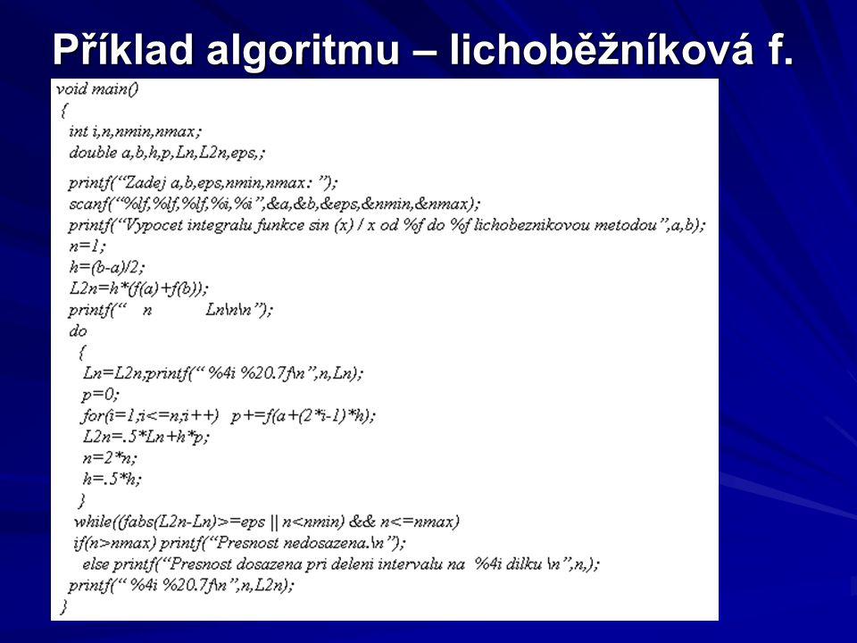 Příklad algoritmu – lichoběžníková f.