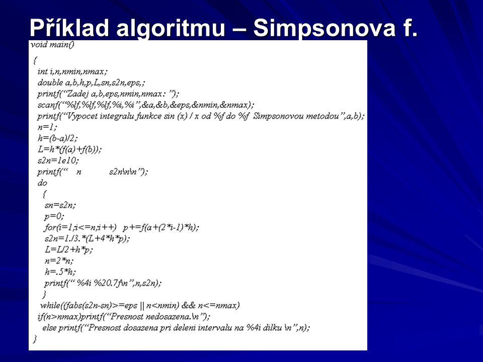 Příklad algoritmu – Simpsonova f.