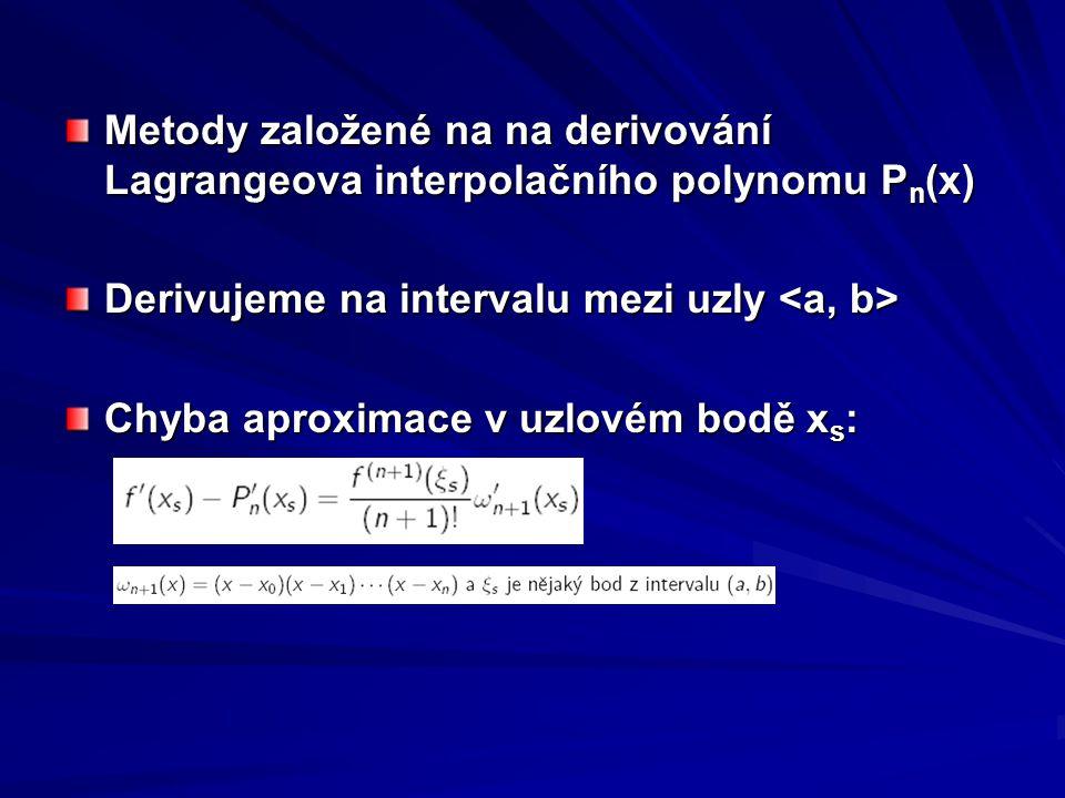 Metody založené na na derivování Lagrangeova interpolačního polynomu Pn(x)
