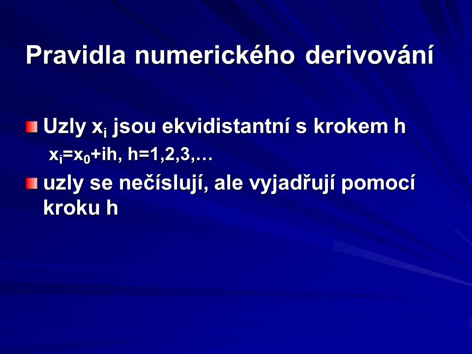 Pravidla numerického derivování