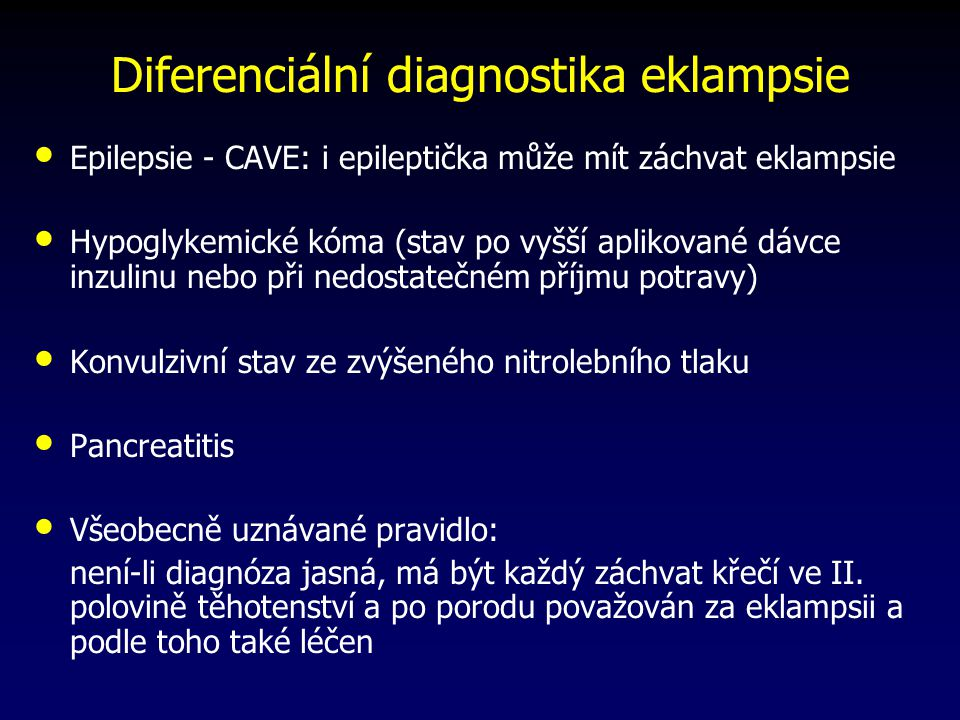 Diferenciální diagnostika eklampsie