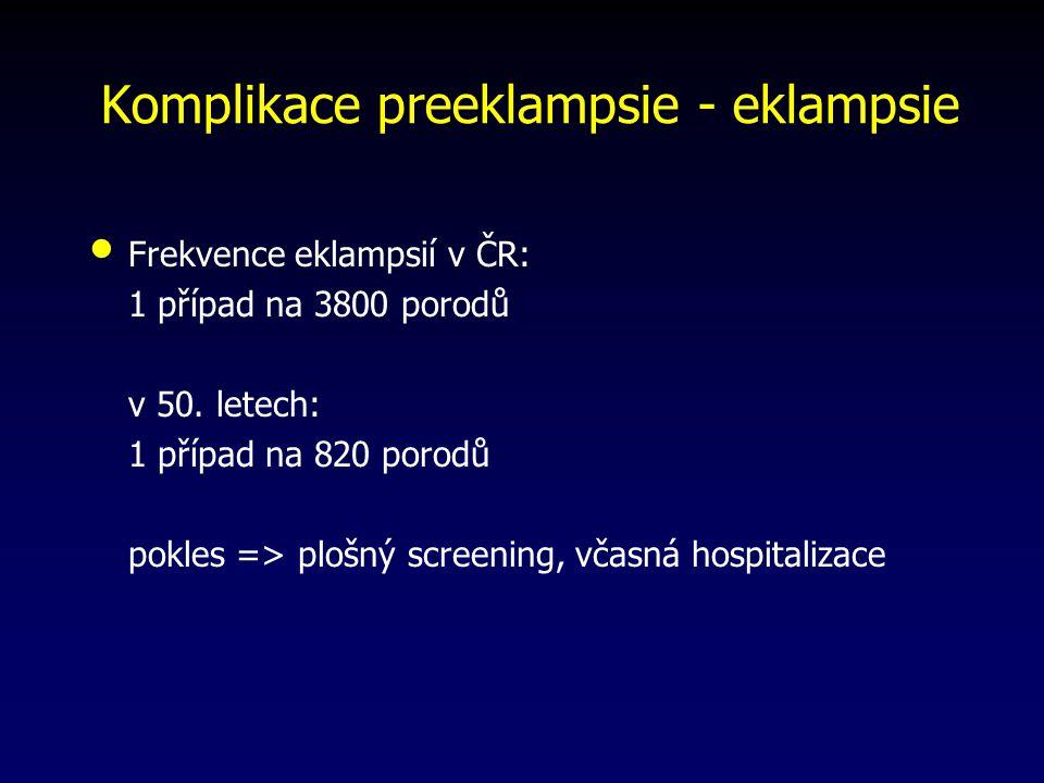 Komplikace preeklampsie - eklampsie