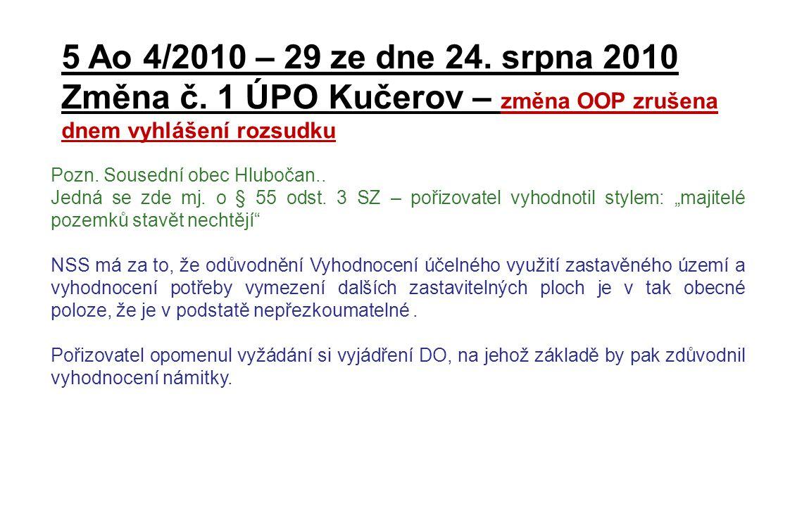 Změna č. 1 ÚPO Kučerov – změna OOP zrušena dnem vyhlášení rozsudku