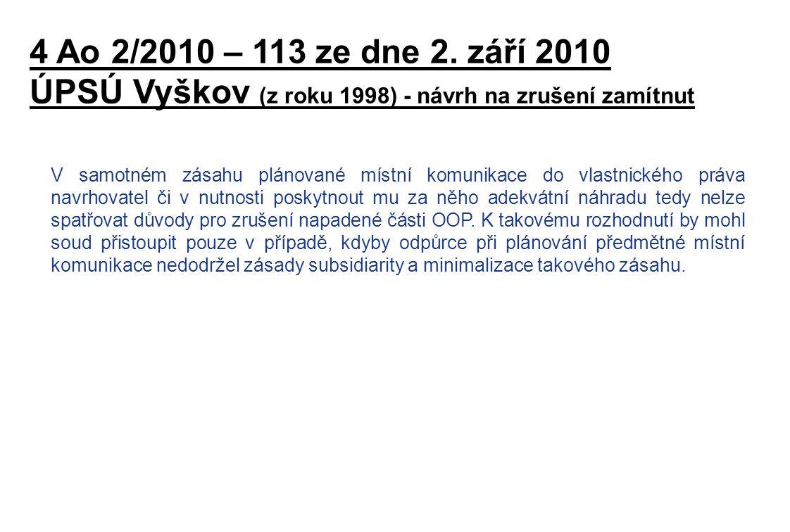 ÚPSÚ Vyškov (z roku 1998) - návrh na zrušení zamítnut