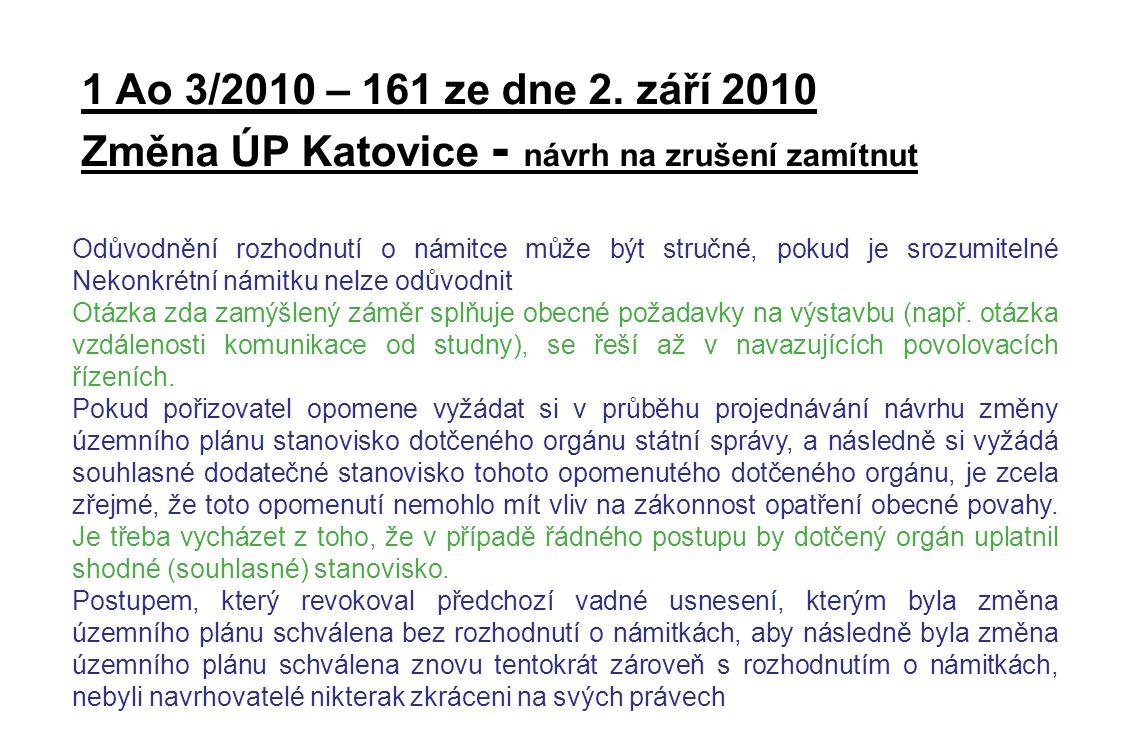 1 Ao 3/2010 – 161 ze dne 2. září 2010 Změna ÚP Katovice - návrh na zrušení zamítnut