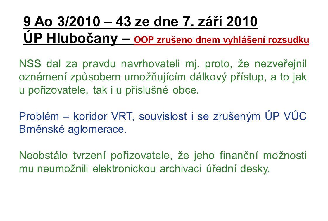 ÚP Hlubočany – OOP zrušeno dnem vyhlášení rozsudku