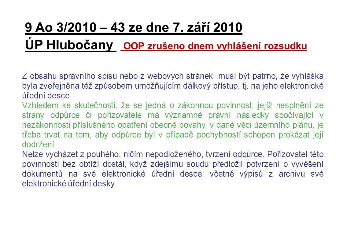 ÚP Hlubočany OOP zrušeno dnem vyhlášení rozsudku