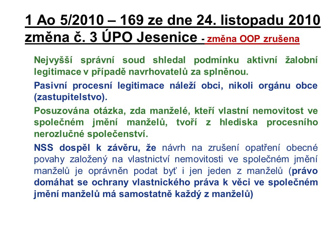 1 Ao 5/2010 – 169 ze dne 24. listopadu 2010 změna č