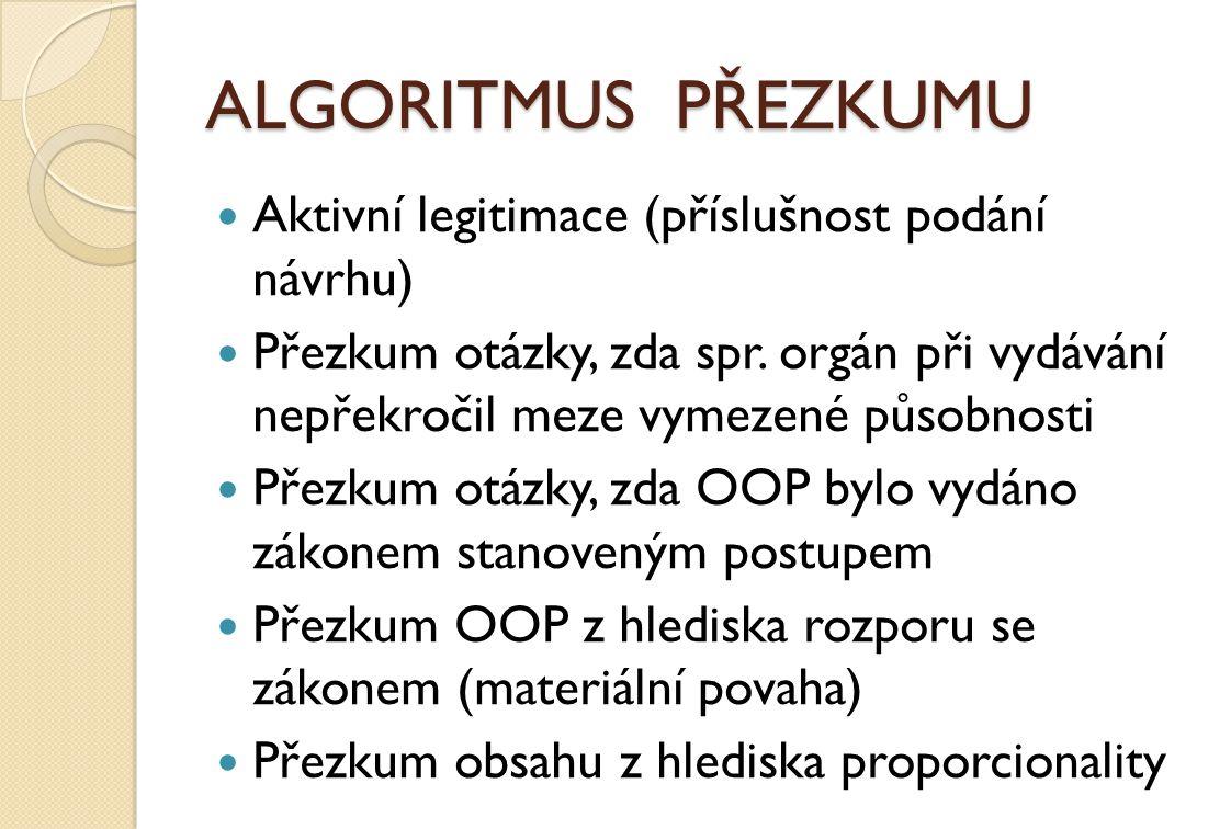 ALGORITMUS PŘEZKUMU Aktivní legitimace (příslušnost podání návrhu)