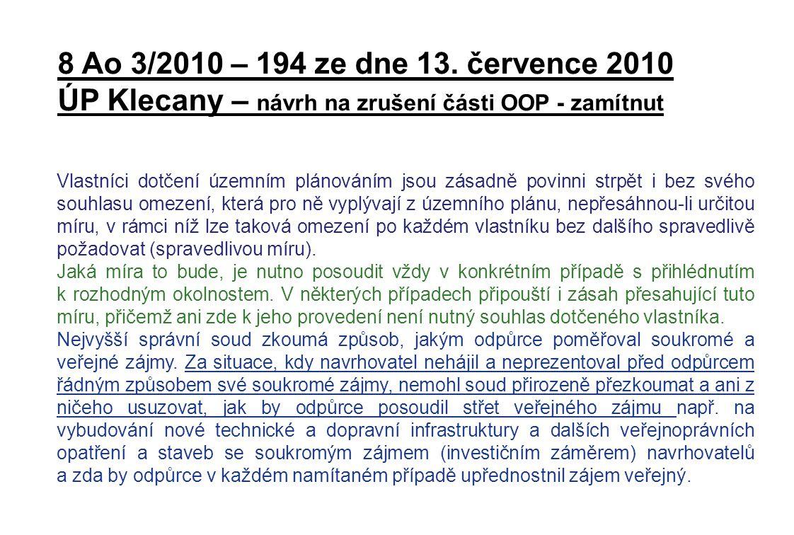 ÚP Klecany – návrh na zrušení části OOP - zamítnut