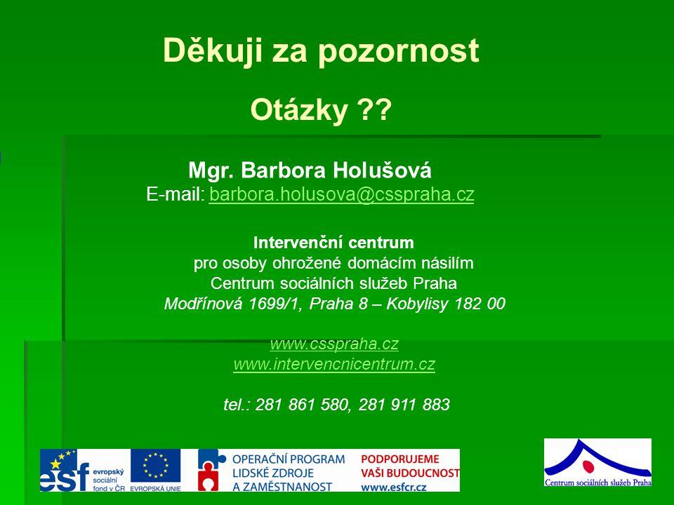Děkuji za pozornost Otázky Mgr. Barbora Holušová