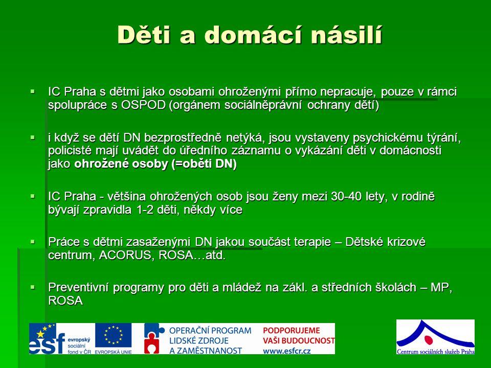 Děti a domácí násilí IC Praha s dětmi jako osobami ohroženými přímo nepracuje, pouze v rámci spolupráce s OSPOD (orgánem sociálněprávní ochrany dětí)