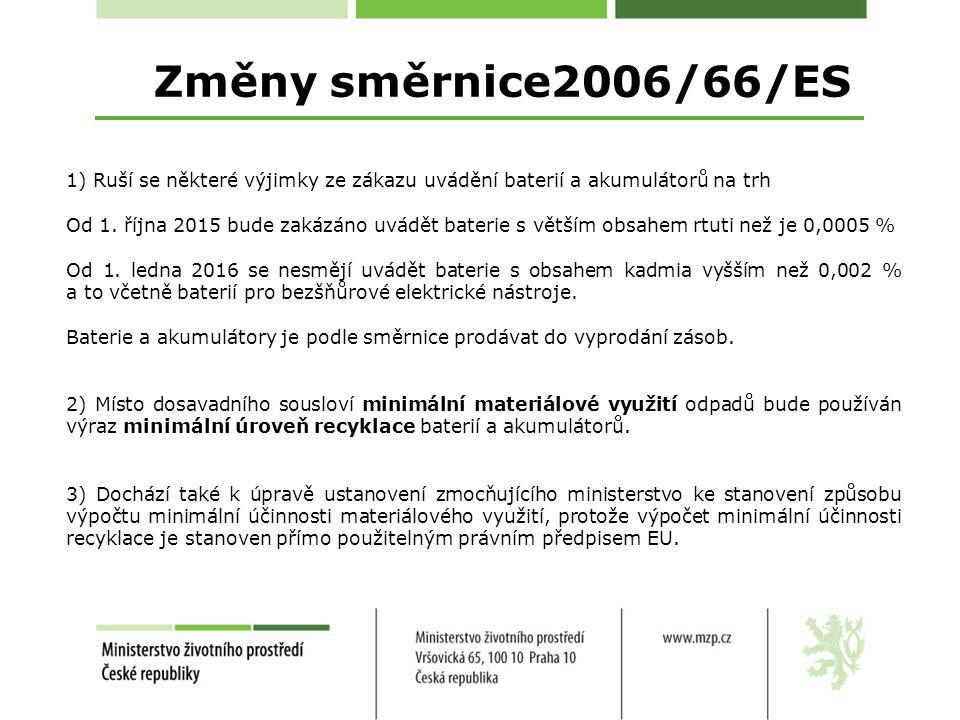 Změny směrnice2006/66/ES 1) Ruší se některé výjimky ze zákazu uvádění baterií a akumulátorů na trh.