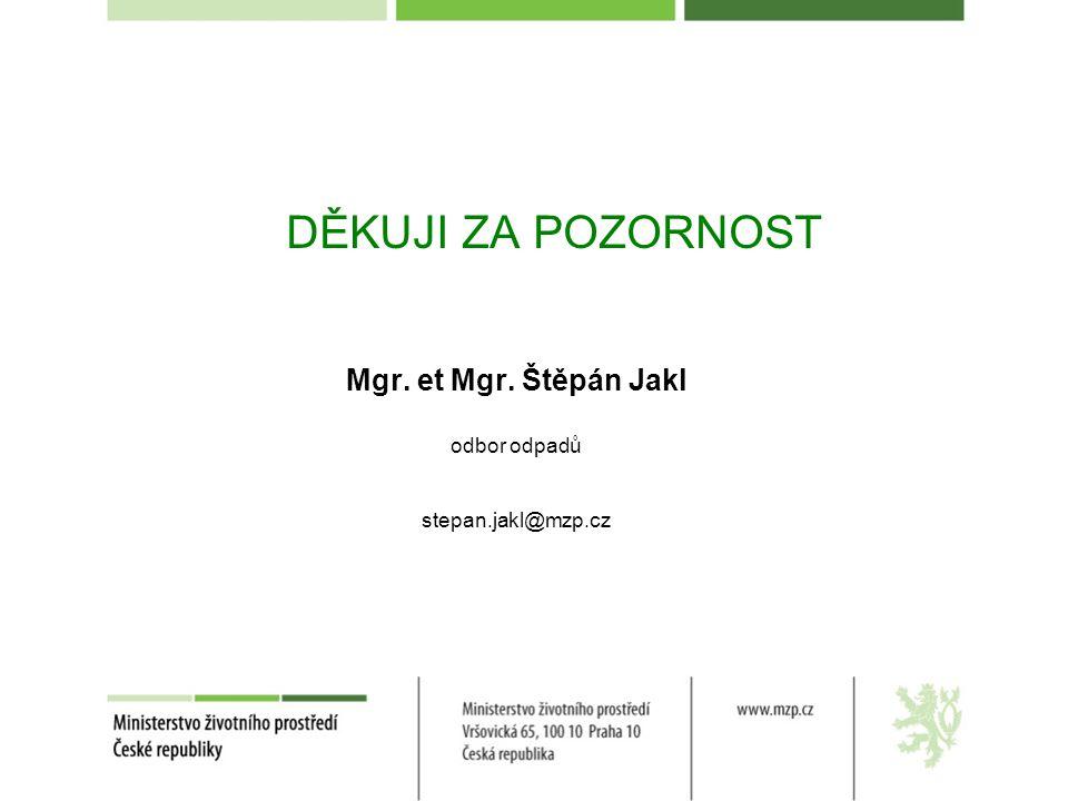 DĚKUJI ZA POZORNOST Mgr. et Mgr. Štěpán Jakl odbor odpadů