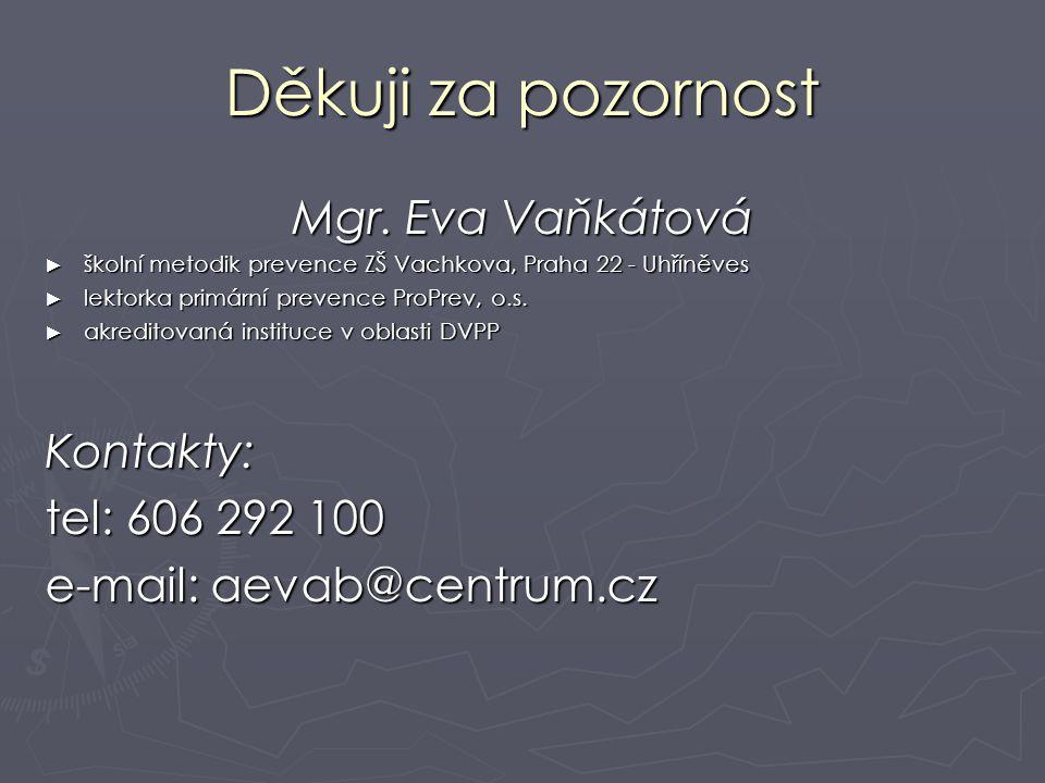 Děkuji za pozornost Mgr. Eva Vaňkátová Kontakty: tel: 606 292 100