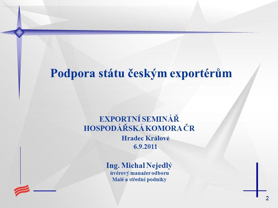 Podpora státu českým exportérům úvěrový manažer odboru
