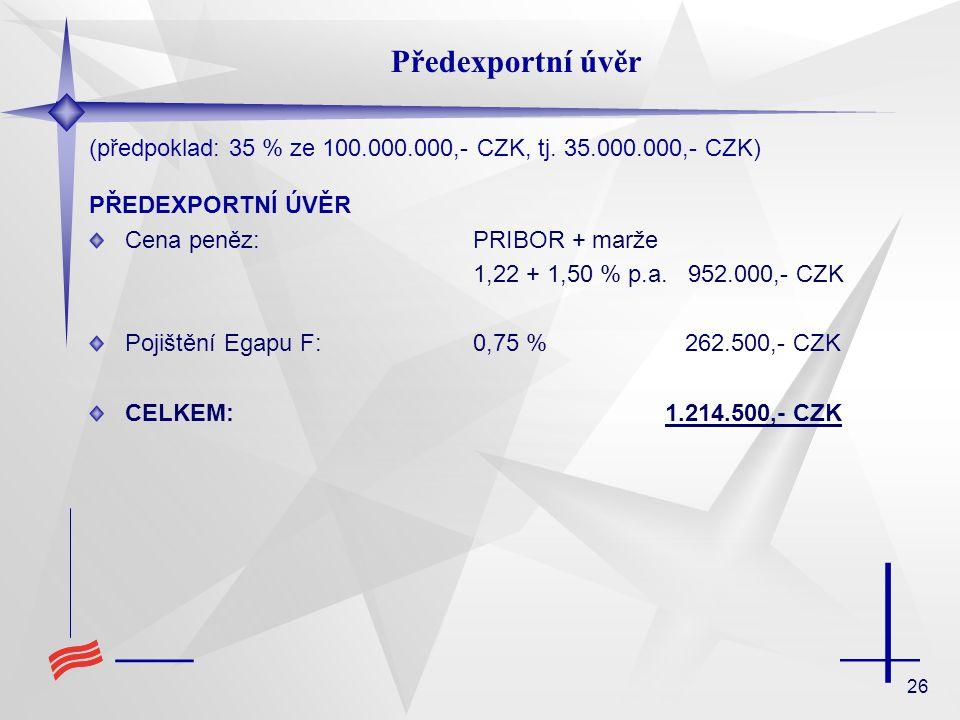 Předexportní úvěr (předpoklad: 35 % ze 100.000.000,- CZK, tj. 35.000.000,- CZK) PŘEDEXPORTNÍ ÚVĚR.