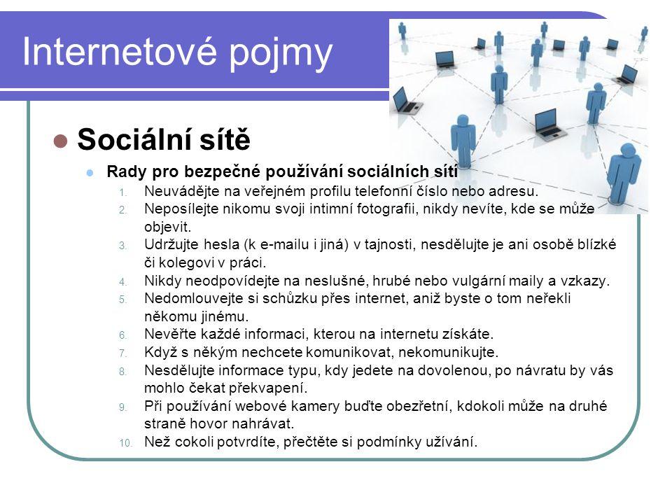 Internetové pojmy Sociální sítě