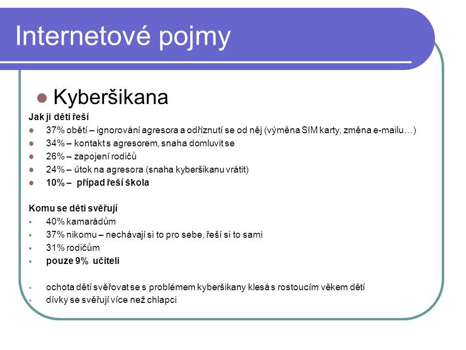 Internetové pojmy Kyberšikana Jak ji děti řeší