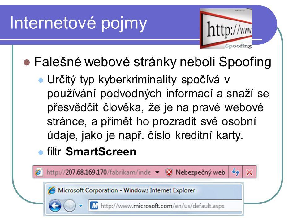 Internetové pojmy Falešné webové stránky neboli Spoofing