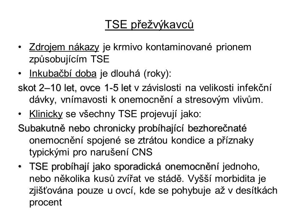 TSE přežvýkavců Zdrojem nákazy je krmivo kontaminované prionem způsobujícím TSE. Inkubačbí doba je dlouhá (roky):
