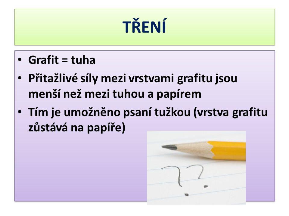 TŘENÍ Grafit = tuha. Přitažlivé síly mezi vrstvami grafitu jsou menší než mezi tuhou a papírem.