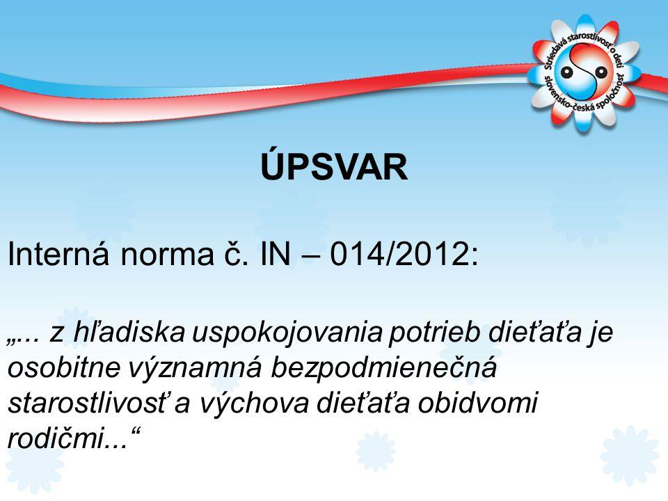 ÚPSVAR Interná norma č. IN – 014/2012: