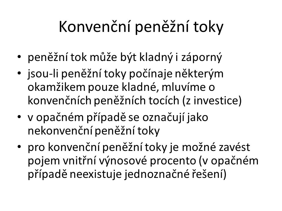 Konvenční peněžní toky