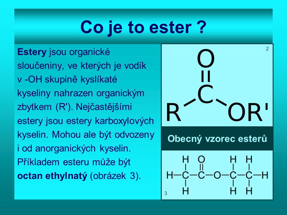 Co je to ester Estery jsou organické sloučeniny, ve kterých je vodík