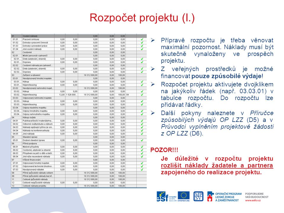 Rozpočet projektu (I.) Přípravě rozpočtu je třeba věnovat maximální pozornost. Náklady musí být skutečně vynaloženy ve prospěch projektu.