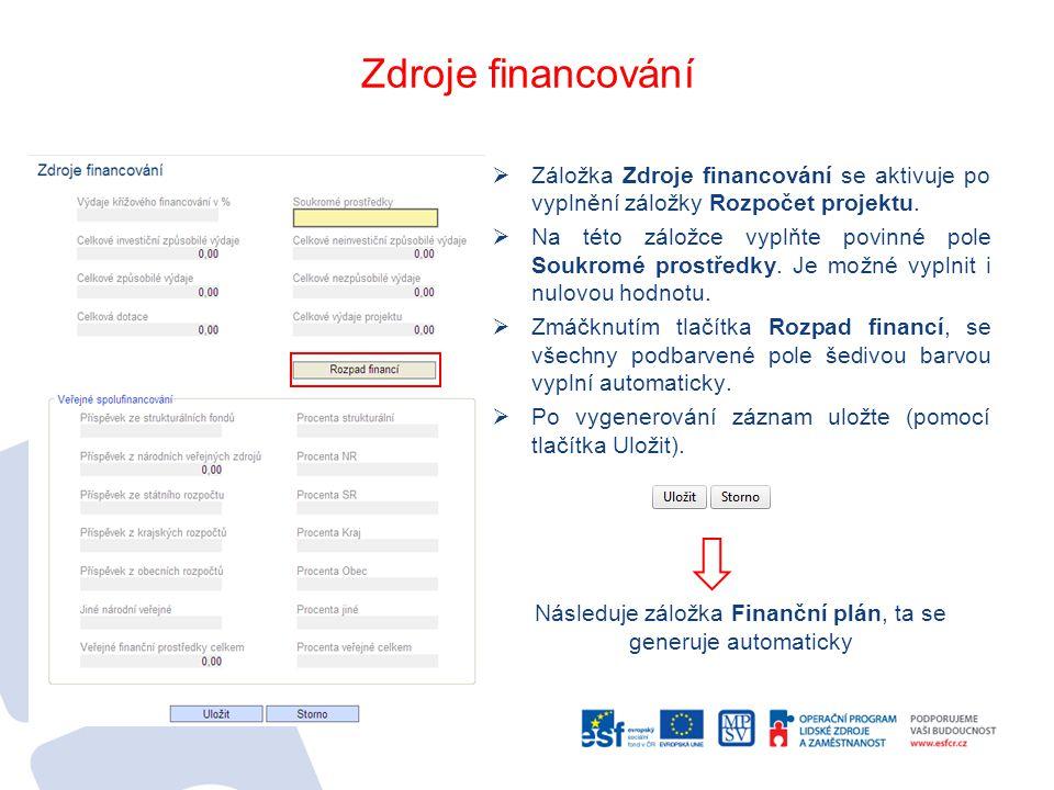 Následuje záložka Finanční plán, ta se generuje automaticky
