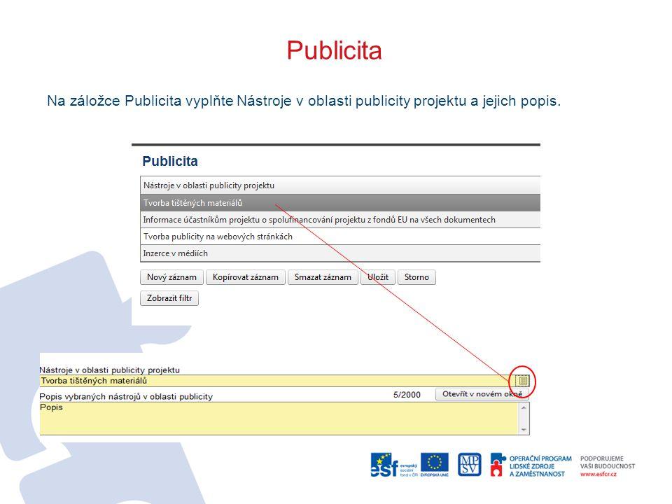Publicita Na záložce Publicita vyplňte Nástroje v oblasti publicity projektu a jejich popis.