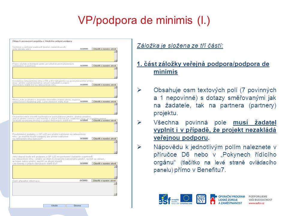 VP/podpora de minimis (I.)