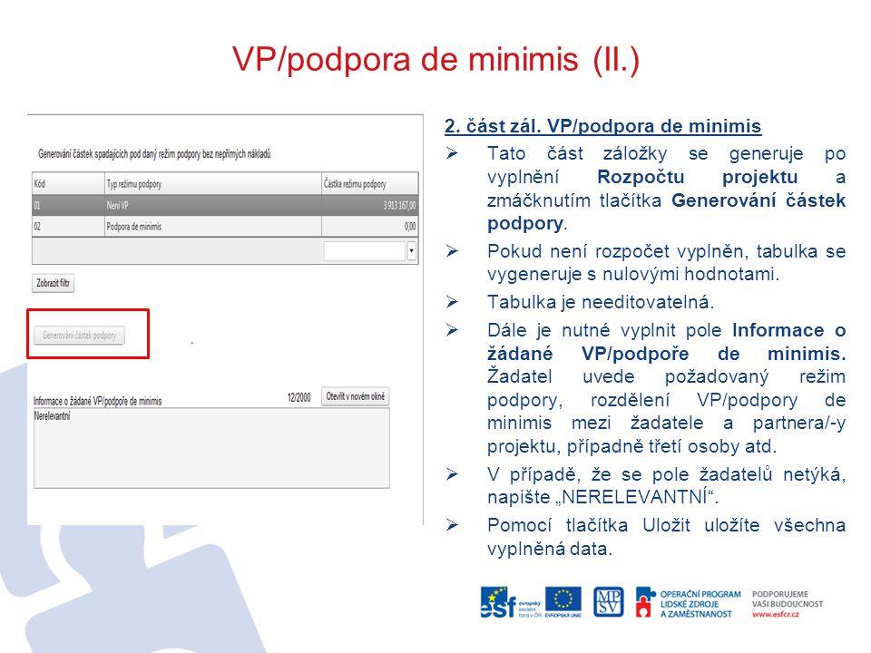 VP/podpora de minimis (II.)