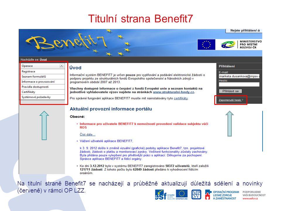 Titulní strana Benefit7