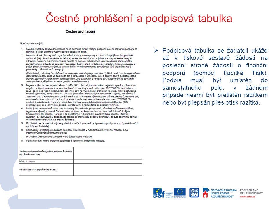 Čestné prohlášení a podpisová tabulka