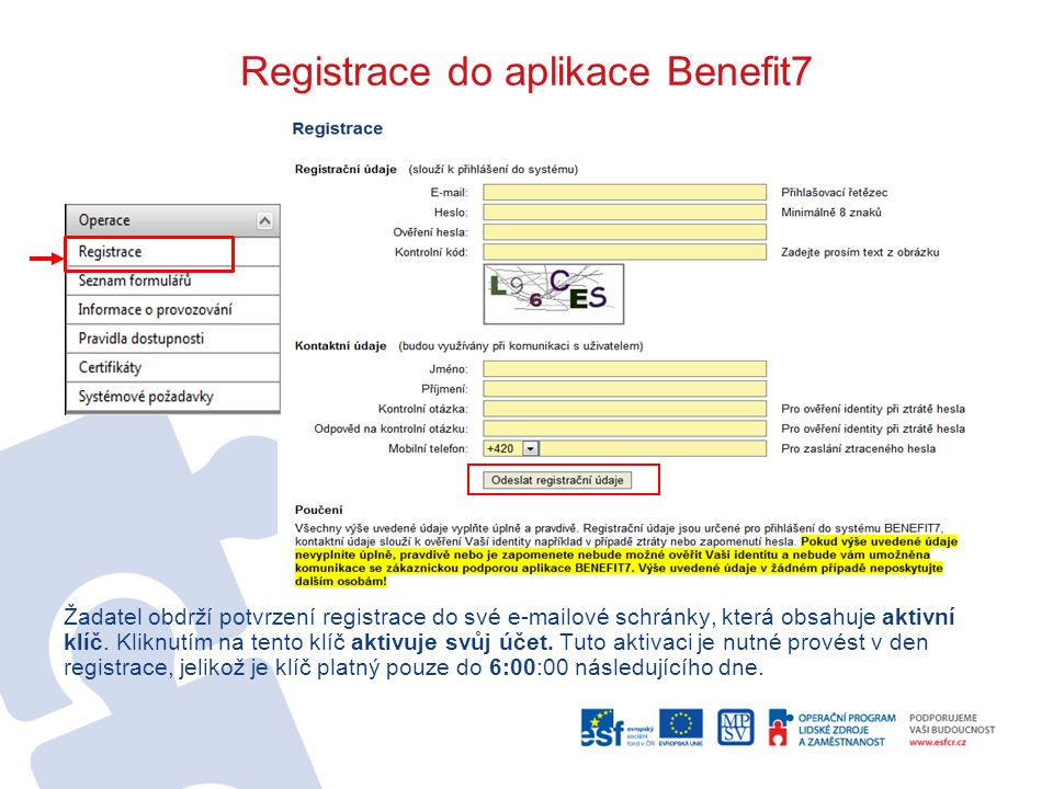 Registrace do aplikace Benefit7