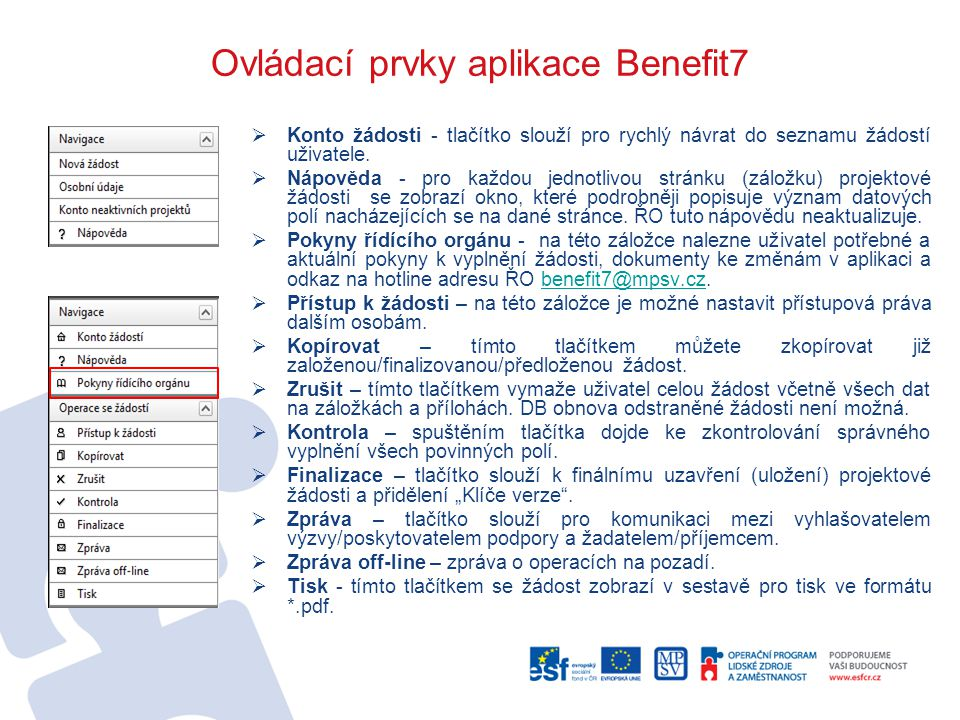 Ovládací prvky aplikace Benefit7