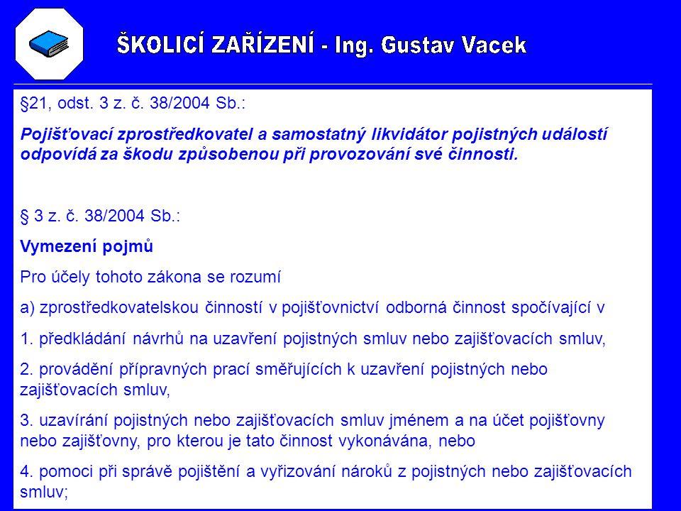 §21, odst. 3 z. č. 38/2004 Sb.: