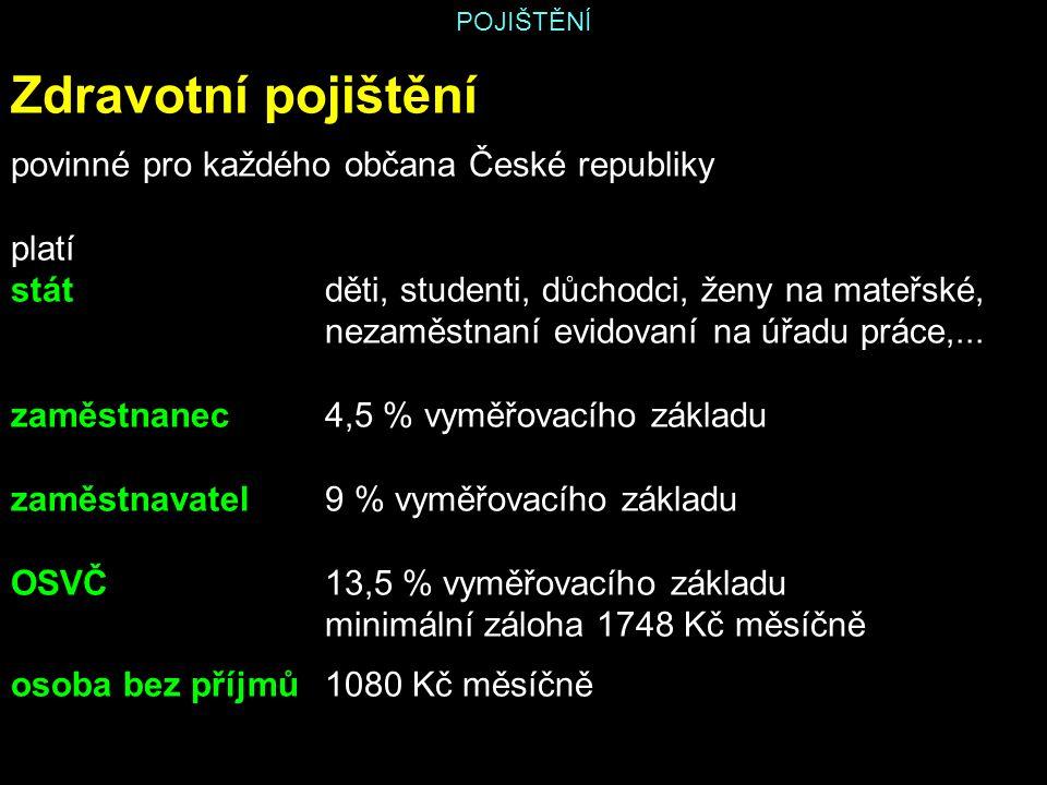 Zdravotní pojištění povinné pro každého občana České republiky platí