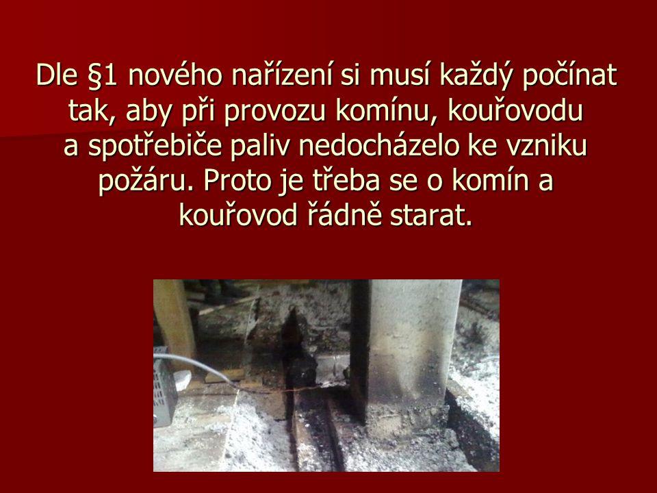 Dle §1 nového nařízení si musí každý počínat tak, aby při provozu komínu, kouřovodu a spotřebiče paliv nedocházelo ke vzniku požáru.